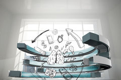 Composite image of media brainstorm in a curved structure Stock Photos