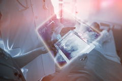 Composite image of medical biology interface in black 3d Royalty Free Stock Images