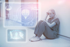 Composite image of medical biology interface in blue 3d Stock Photo