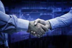 Composite image of men shaking hands Stock Photos