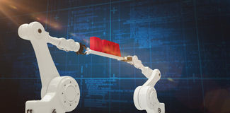 Composite image of metal robotic hands holding red data message against blue background. Metal robotic hands holding red data message against white background Royalty Free Stock Photography