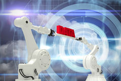 Composite image of metal robotic hands holding red data message. Metal robotic hands holding red data message against white background against blue technology Royalty Free Stock Images