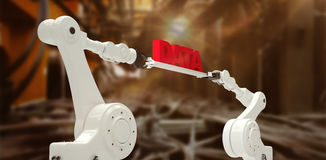 Composite image of metal robotic hands holding red data message against white background Royalty Free Stock Images