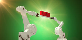 Composite image of metal robotic hands holding red data message against white background Stock Image