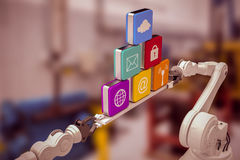 Composite image of metallic robotic hands holding computer icons over white background Stock Photos