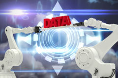 Composite image of metallic robotic hands holding red data message Royalty Free Stock Photography