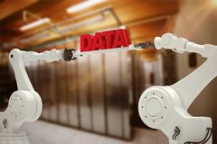 Composite image of metallic robotic hands holding red data message Royalty Free Stock Image