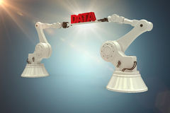 Composite image of metallic robotic hands holding red data message against white background Stock Photography