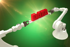 Composite image of metallic robotic hands holding red data text over green background Stock Photo