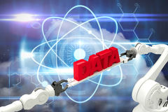 Composite image of metallic robotic hands holding red data text Stock Photography