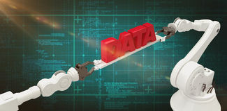 Composite image of metallic robotic hands holding red data text. Metallic robotic hands holding red data text over white background against green background with Stock Photo