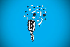 Composite image of microphone and letters doodle Stock Photos