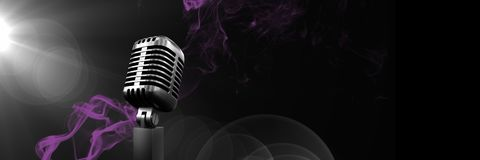Composite image of microphone on purple and black background. Digital composite of Composite image of microphone on purple and black background vector illustration