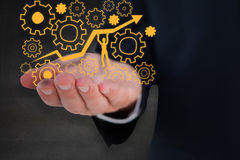 Composite image of mid section of a businessman with hands out Royalty Free Stock Image