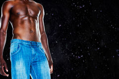 Composite image of mid section of shirtless muscular man Stock Photography