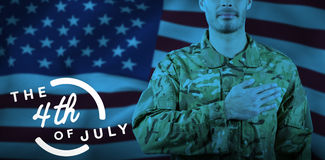 Composite image of mid section of soldier taking oath. Mid section of soldier taking oath against colorful happy 4th of july text against white background Royalty Free Stock Photography
