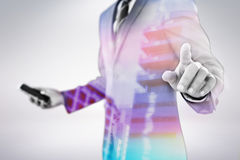 Composite image of midsection of businessman using futuristic digital screen 3d. Midsection of businessman using futuristic digital screen against modern Stock Images