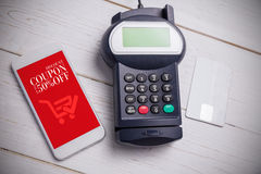 Composite image of mobile payment. Mobile payment against sale advertisement stock image