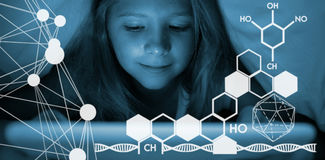 Composite image of composite image of molecule structure Royalty Free Stock Image