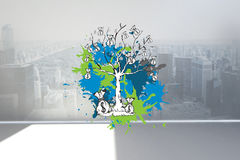 Composite image of money tree on paint splashes Stock Images