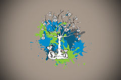 Composite image of money tree on paint splashes Stock Photo