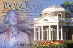 Composite image of Monticello, US Constitution, and bust of Thomas Jefferson with his signature Royalty Free Stock Photo