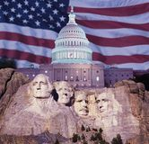 Composite image of Mount Rushmore, U.S. Capitol building, and American flag Stock Image