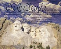 Composite image of Mount Rushmore, U.S. Constitution, and blue sky with white clouds Royalty Free Stock Photos