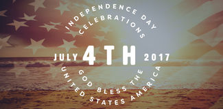 Composite image of multi colored happy 4th of july text against white background Royalty Free Stock Image