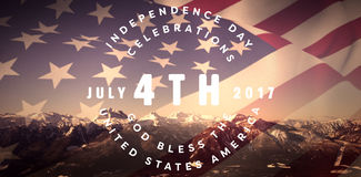 Composite image of multi colored happy 4th of july text against white background. Multi colored happy 4th of july text against white background against snow Stock Image