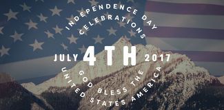 Composite image of multi colored happy 4th of july text against white background. Multi colored happy 4th of july text against white background against united Stock Images