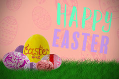 Composite image of multi colored patterned easter eggs Royalty Free Stock Photography