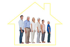 Composite image of multigeneration family posing together and looking at camera stock illustration