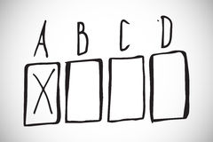 Composite image of multiple choice doodle. Multiple choice doodle against white background with vignette Royalty Free Stock Photos