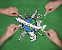 Composite image of multiple hands drawing airplane with chalk Stock Photo