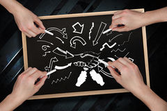 Composite image of multiple hands drawing arrows with chalk Stock Image