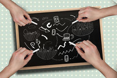 Composite image of multiple hands drawing brainstorm with chalk Stock Images