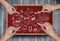 Composite image of multiple hands drawing brainstorm with chalk Royalty Free Stock Photography