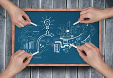 Composite image of multiple hands drawing brainstorm with chalk Stock Photography