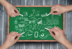 Composite image of multiple hands drawing brainstorm with chalk Stock Photos