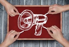 Composite image of multiple hands drawing megaphone with chalk Stock Photography