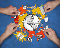 Composite image of multiple hands drawing travel doodle with chalk Royalty Free Stock Photo