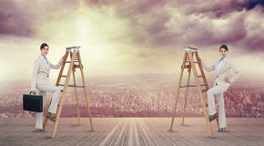 Composite image of multiple image of businesswoman climbing ladder Stock Photos