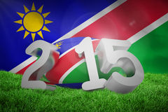 Composite image of namibia rugby 2015 message. Namibia rugby 2015 message  against namibian flag on white background Royalty Free Stock Image