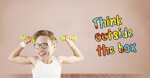 Composite image of nerd lifting weights. Nerd lifting weights against room with wooden floor Royalty Free Stock Photos