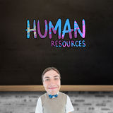Composite image of nerd smiling. Nerd smiling against blackboard on wall Royalty Free Stock Images