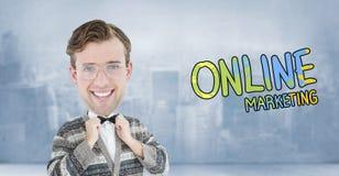 Composite image of nerd smiling Stock Photos