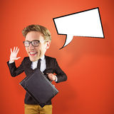 Composite image of nerd smiling and waving. Nerd smiling and waving against red vignette Royalty Free Stock Photo
