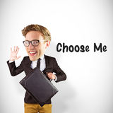 Composite image of nerd smiling and waving. Nerd smiling and waving against white background with vignette Royalty Free Stock Image