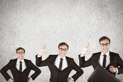Composite image of nerdy businessman waving Royalty Free Stock Photo